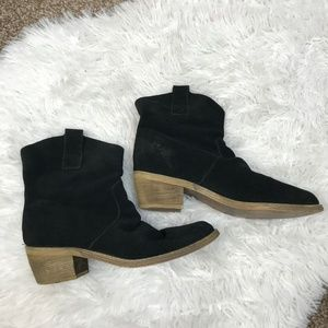 Restricted Black Suede Ankle Boots Pull On Slouch